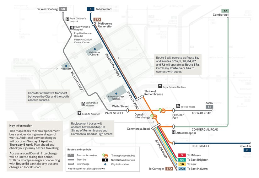 MTP St Kilda Rd Diversion Map